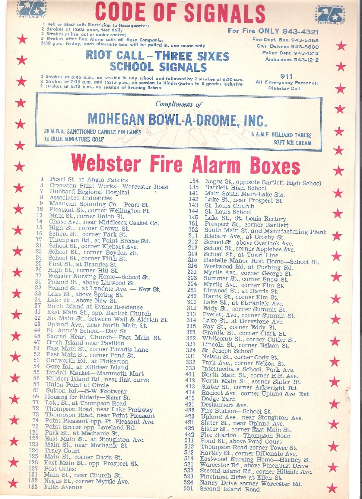 1975 Box Alarm List
