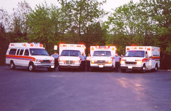 Retired fleet of vehicles in the early days, circa 1997 Ambulance 4, Ambulance 3, Ambulance 1, Ambul